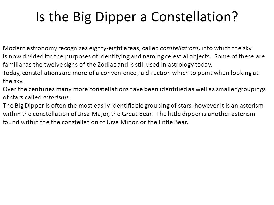 Is the Big Dipper a Constellation.