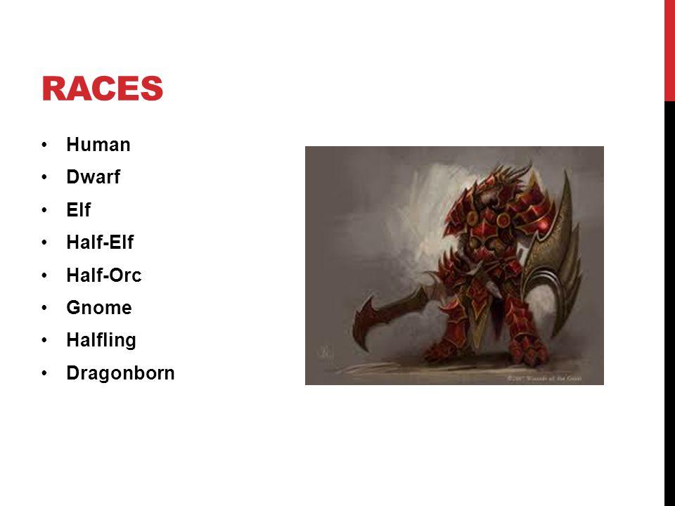 RACES Human Dwarf Elf Half-Elf Half-Orc Gnome Halfling Dragonborn