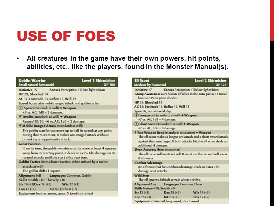 USE OF FOES All creatures in the game have their own powers, hit points, abilities, etc., like the players, found in the Monster Manual(s).