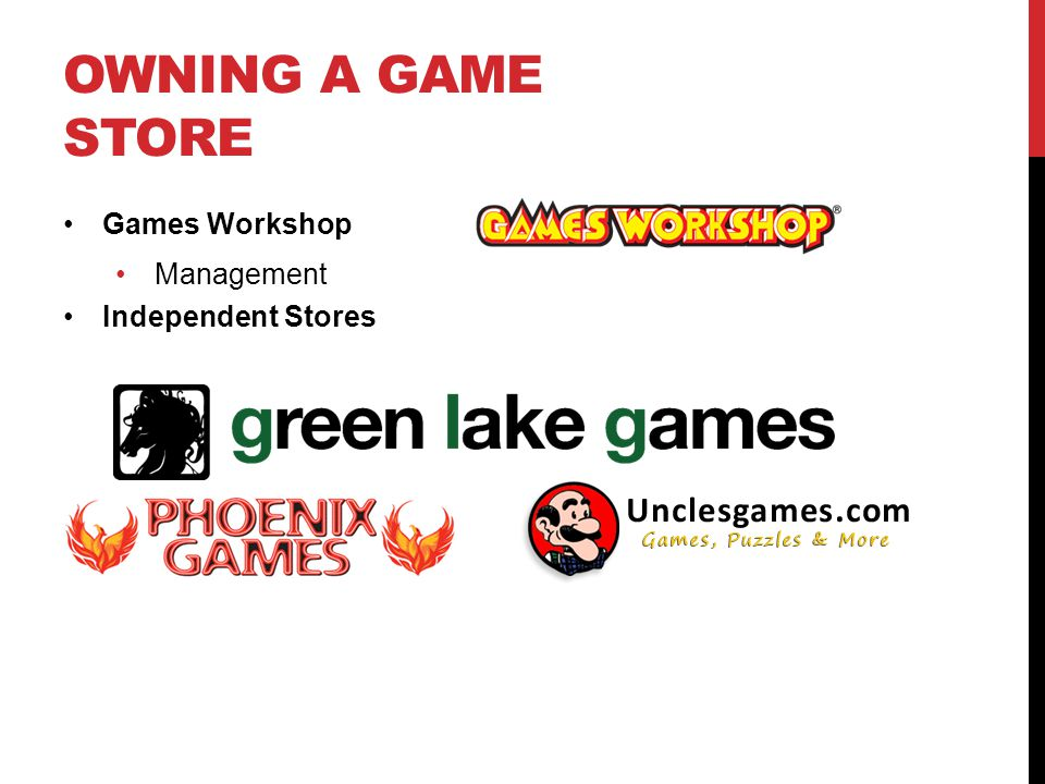 OWNING A GAME STORE Games Workshop Management Independent Stores