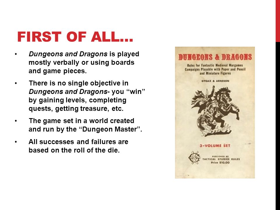 FIRST OF ALL… Dungeons and Dragons is played mostly verbally or using boards and game pieces.