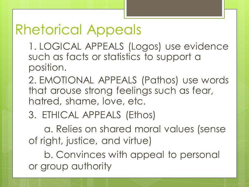 Rhetorical Appeals 1.