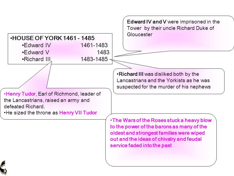 HOUSE OF YORK 1461 - 1485 Edward IV1461-1483 Edward V 1483 Richard III1483-1485 HOUSE OF YORK 1461 - 1485 Edward IV1461-1483 Edward V 1483 Richard III