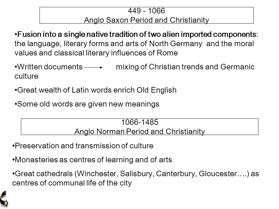 449 - 1066 Anglo Saxon Period and Christianity Fusion into a single native tradition of two alien imported components: the language, literary forms an