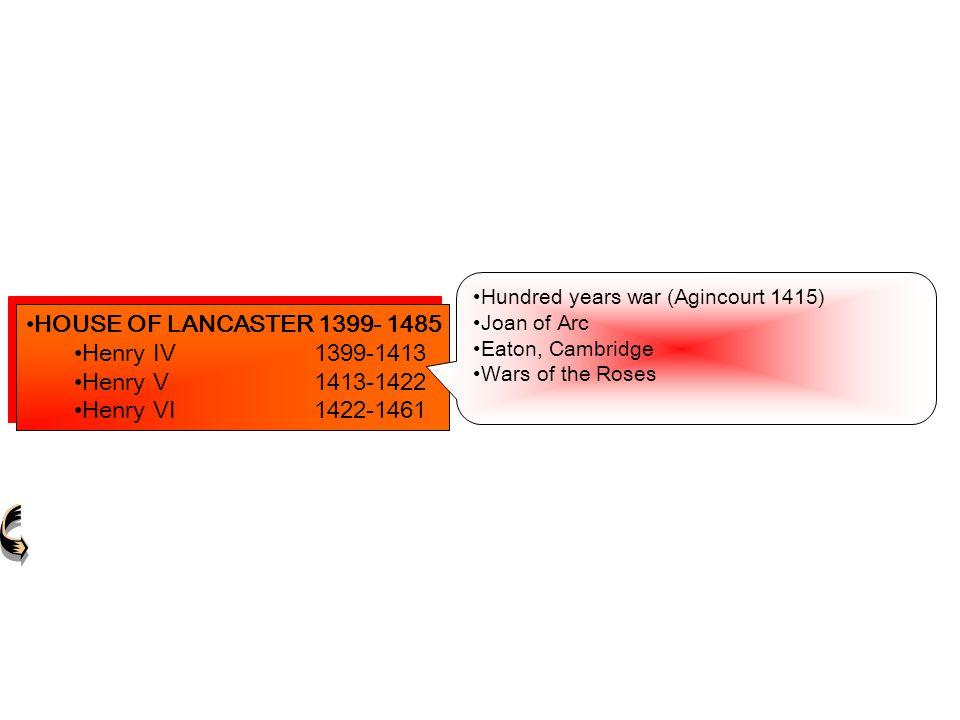 HOUSE OF LANCASTER 1399- 1485 Henry IV1399-1413Henry IV1399-1413 Henry V1413-1422Henry V1413-1422 Henry VI1422-1461Henry VI1422-1461 HOUSE OF LANCASTE