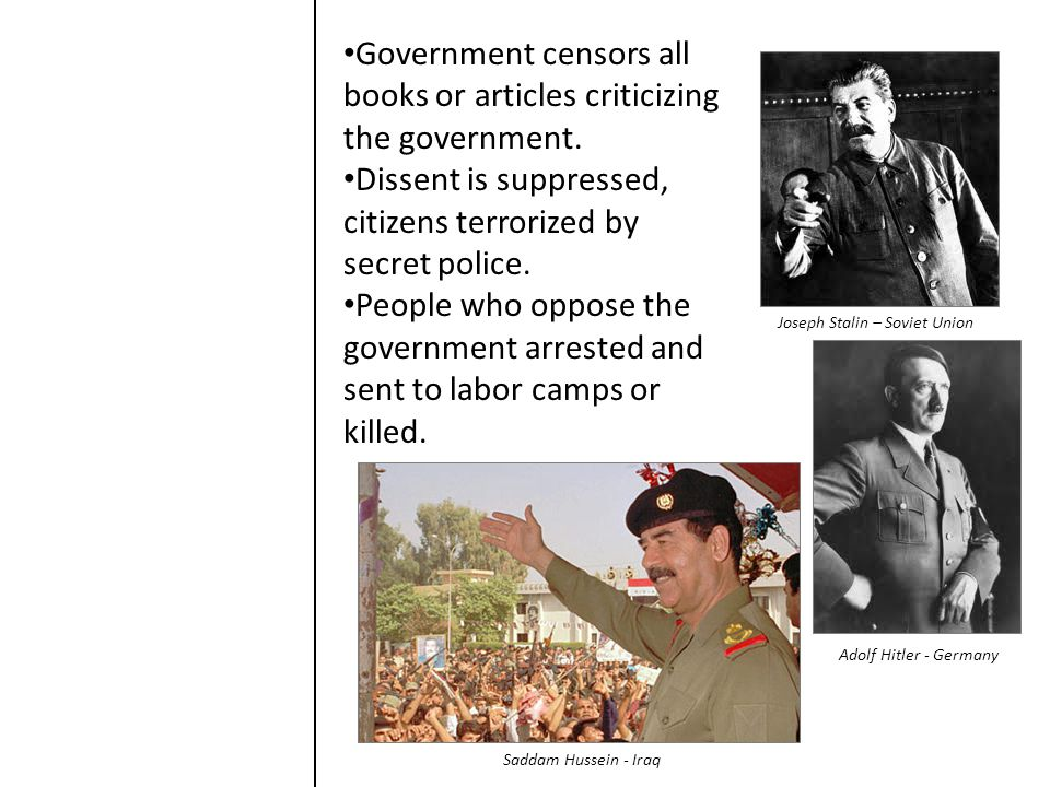 Government censors all books or articles criticizing the government. Dissent is suppressed, citizens terrorized by secret police. People who oppose th