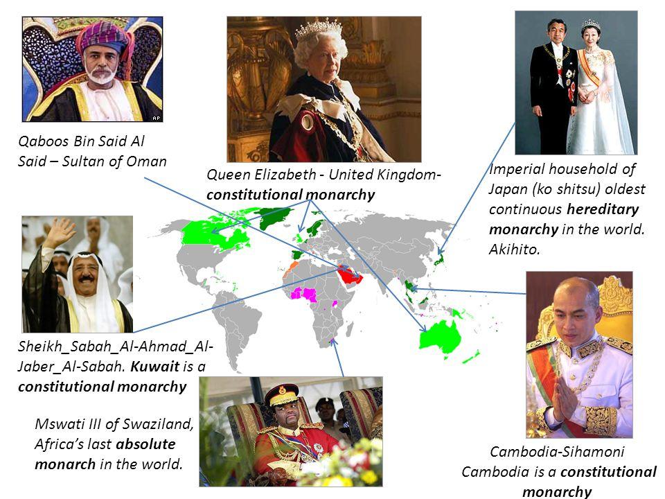 Qaboos Bin Said Al Said – Sultan of Oman Mswati III of Swaziland, Africa's last absolute monarch in the world. Imperial household of Japan (ko shitsu)