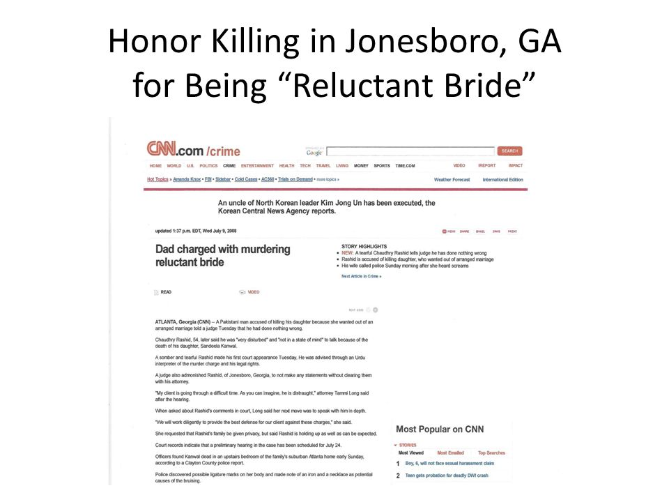 "Honor Killing in Jonesboro, GA for Being ""Reluctant Bride"""