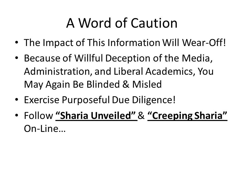 A Word of Caution The Impact of This Information Will Wear-Off.