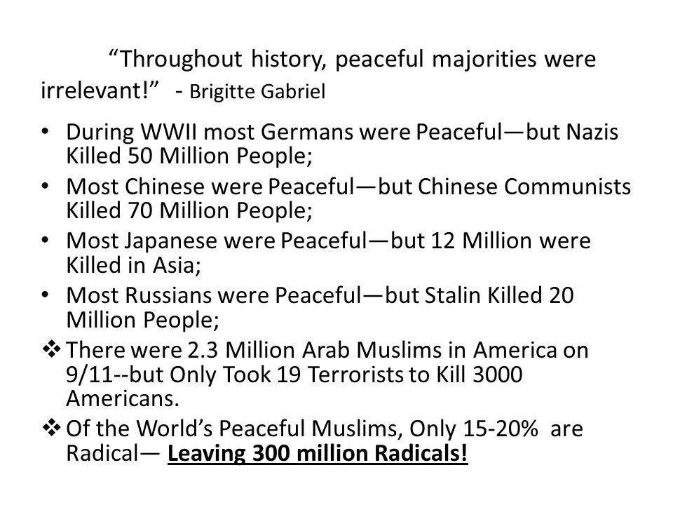 """""""Throughout history, peaceful majorities were irrelevant!""""- Brigitte Gabriel During WWII most Germans were Peaceful—but Nazis Killed 50 Million People"""