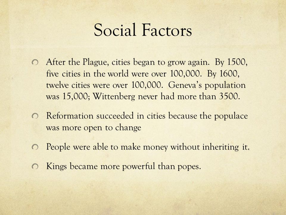 Social Factors After the Plague, cities began to grow again.