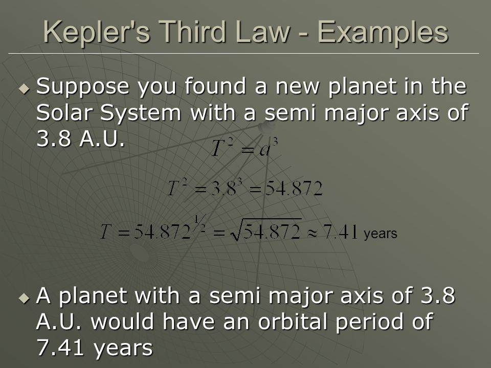 Kepler s Third Law - Examples  Suppose you found a new planet in the Solar System with a semi major axis of 3.8 A.U.