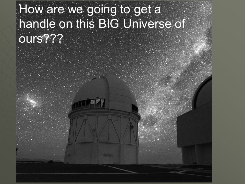 How are we going to get a handle on this BIG Universe of ours