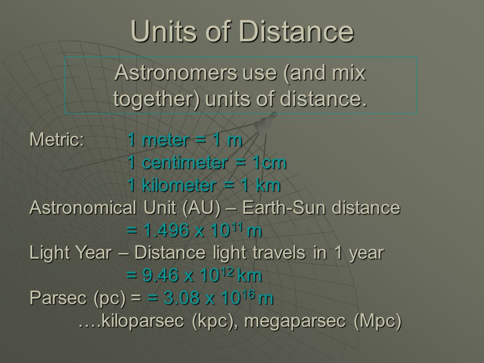 Units of Distance Astronomers use (and mix together) units of distance.
