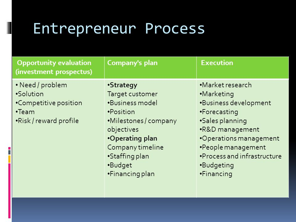 Entrepreneur Process Opportunity evaluation (investment prospectus) Company's plan Execution Need / problem Solution Competitive position Team Risk /