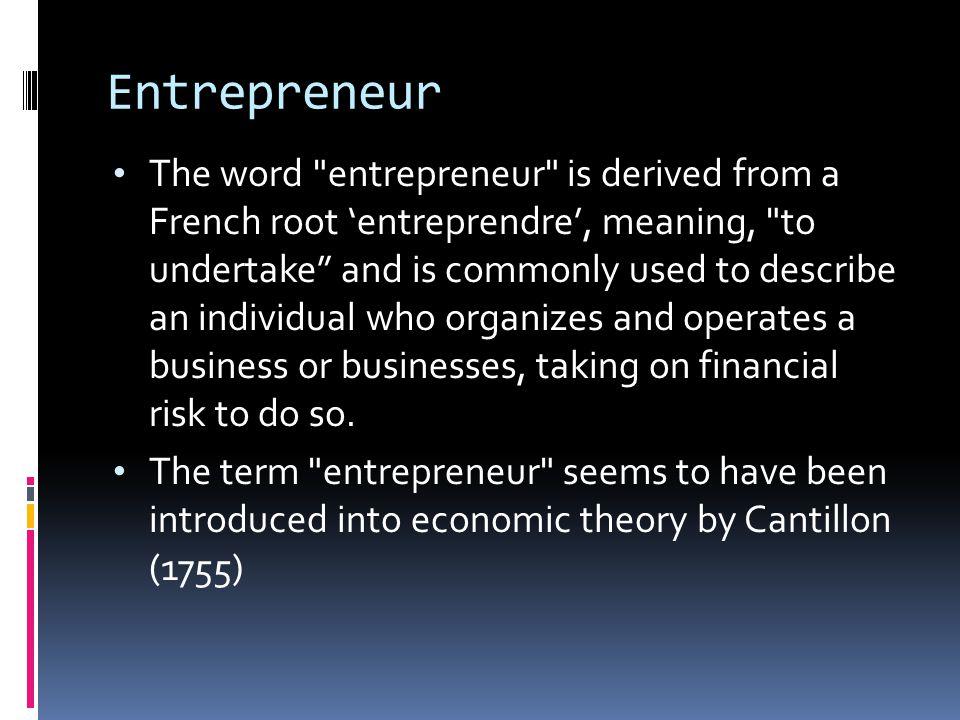Entrepreneur The word