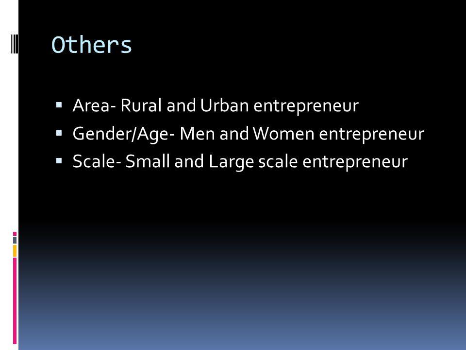 Others  Area- Rural and Urban entrepreneur  Gender/Age- Men and Women entrepreneur  Scale- Small and Large scale entrepreneur