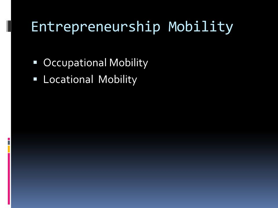 Entrepreneurship Mobility  Occupational Mobility  Locational Mobility