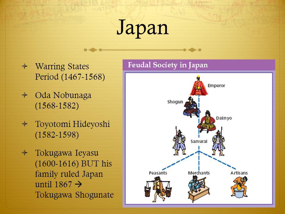 Japan  Warring States Period (1467-1568)  Oda Nobunaga (1568-1582)  Toyotomi Hideyoshi (1582-1598)  Tokugawa Ieyasu (1600-1616) BUT his family rul