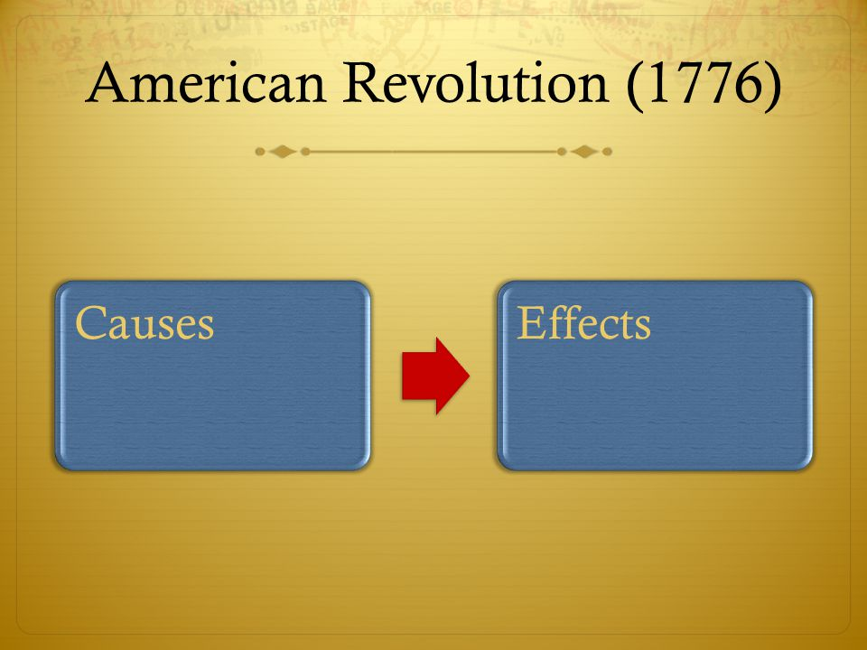 American Revolution (1776) CausesEffects