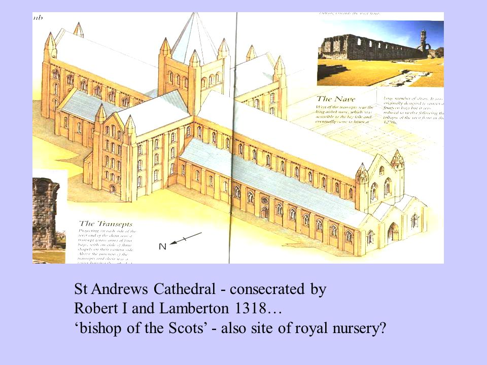 St Andrews Cathedral - consecrated by Robert I and Lamberton 1318… 'bishop of the Scots' - also site of royal nursery