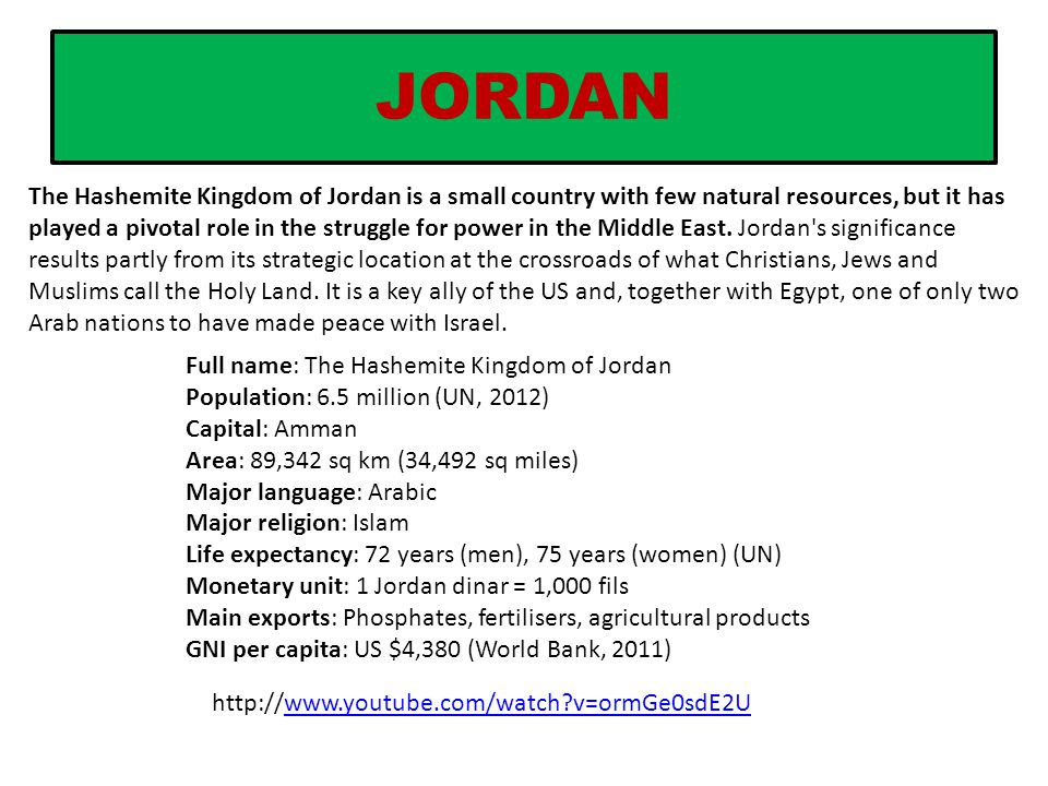 JORDAN The Hashemite Kingdom of Jordan is a small country with few natural resources, but it has played a pivotal role in the struggle for power in th