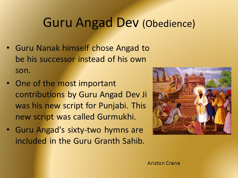 Guru Angad Dev (Obedience) Guru Nanak himself chose Angad to be his successor instead of his own son. One of the most important contributions by Guru