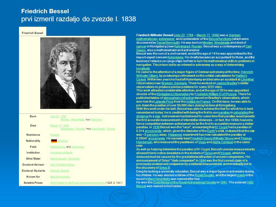 Friedrich Bessel prvi izmeril razdaljo do zvezde l.