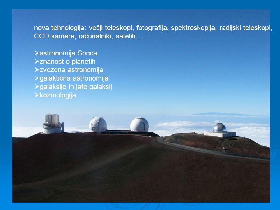 nova tehnologija: večji teleskopi, fotografija, spektroskopija, radijski teleskopi, CCD kamere, računalniki, sateliti.....