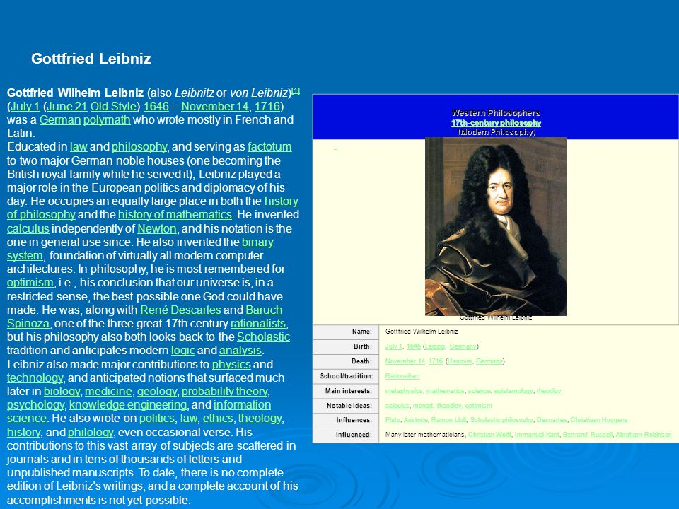 Gottfried Leibniz Western Philosophers 17th-century philosophy (Modern Philosophy) 17th-century philosophy 17th-century philosophy Gottfried Wilhelm L