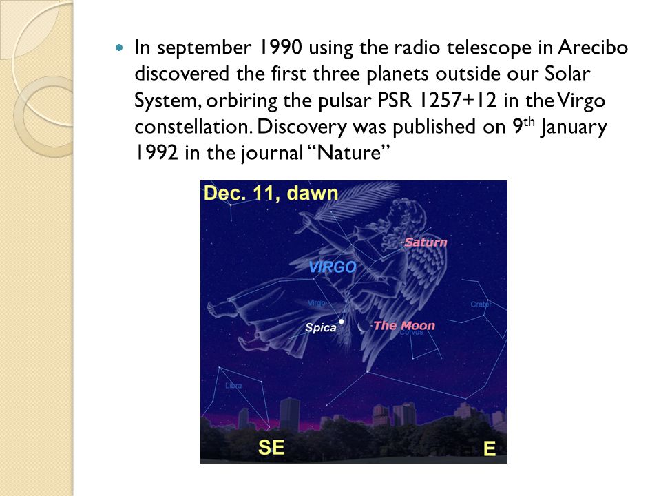 In september 1990 using the radio telescope in Arecibo discovered the first three planets outside our Solar System, orbiring the pulsar PSR 1257+12 in