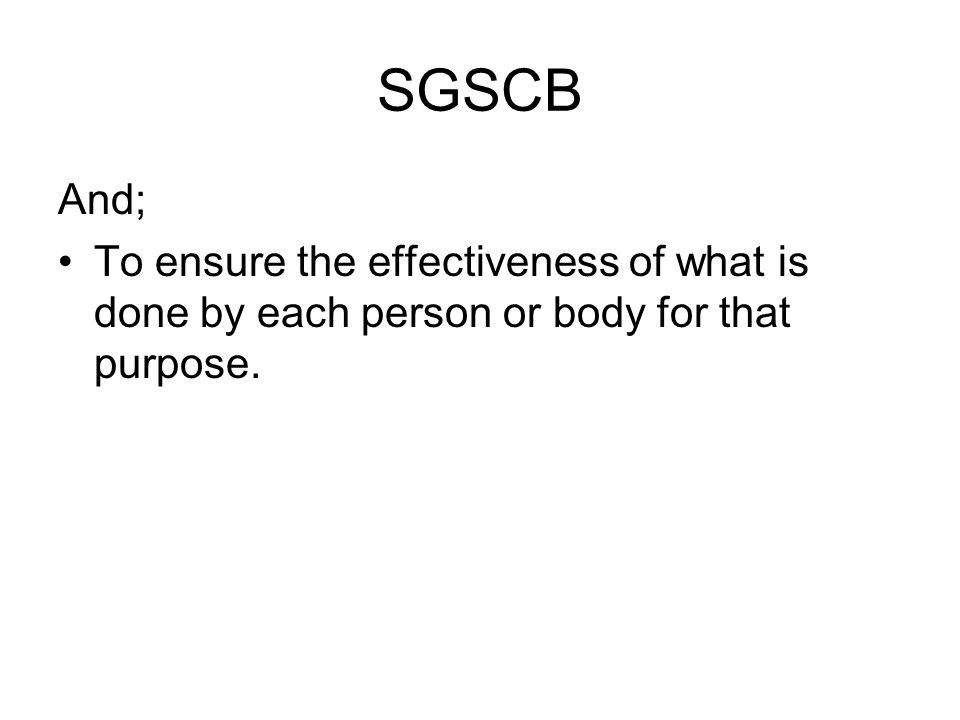 SGSCB And; To ensure the effectiveness of what is done by each person or body for that purpose.