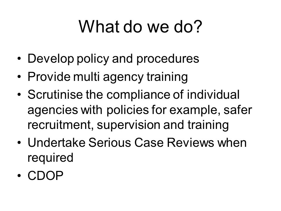 What do we do? Develop policy and procedures Provide multi agency training Scrutinise the compliance of individual agencies with policies for example,
