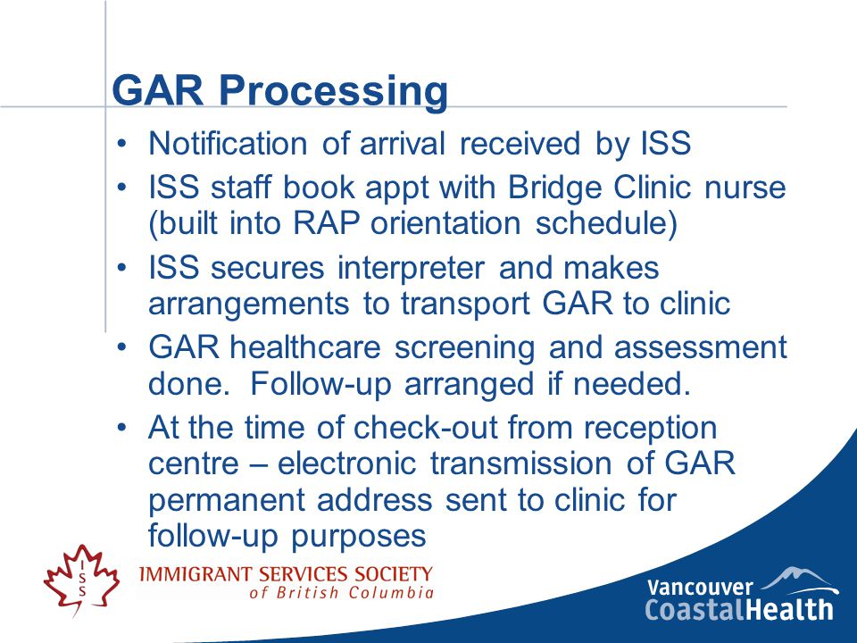 GAR Processing Notification of arrival received by ISS ISS staff book appt with Bridge Clinic nurse (built into RAP orientation schedule) ISS secures interpreter and makes arrangements to transport GAR to clinic GAR healthcare screening and assessment done.