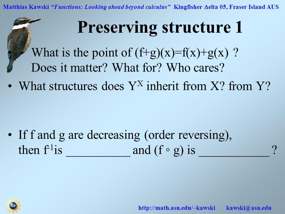 Matthias Kawski Functions: Looking ahead beyond calculus Kingfisher  elta 05, Fraser Island AUS http://math.asu.edu/~kawski kawski@asu.edu Preserving structure 1 What is the point of (f+g)(x)=f(x)+g(x) .