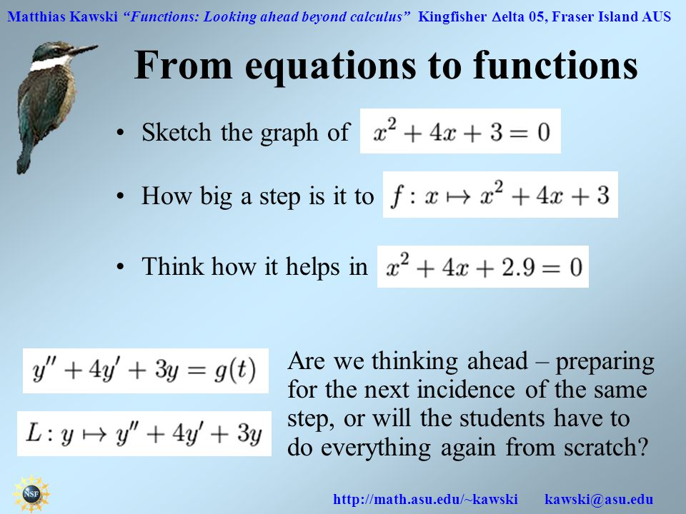 Matthias Kawski Functions: Looking ahead beyond calculus Kingfisher  elta 05, Fraser Island AUS http://math.asu.edu/~kawski kawski@asu.edu From equations to functions Sketch the graph of How big a step is it to .