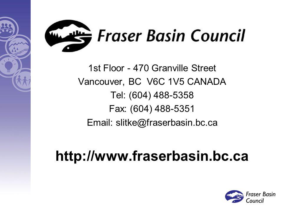 Lessons Learned 1st Floor - 470 Granville Street Vancouver, BC V6C 1V5 CANADA Tel: (604) 488-5358 Fax: (604) 488-5351 Email: slitke@fraserbasin.bc.ca http://www.fraserbasin.bc.ca