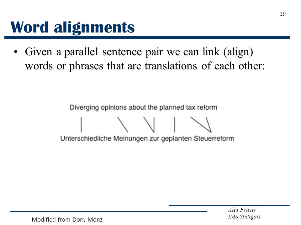 Alex Fraser IMS Stuttgart 19 Word alignments Given a parallel sentence pair we can link (align) words or phrases that are translations of each other: Modified from Dorr, Monz