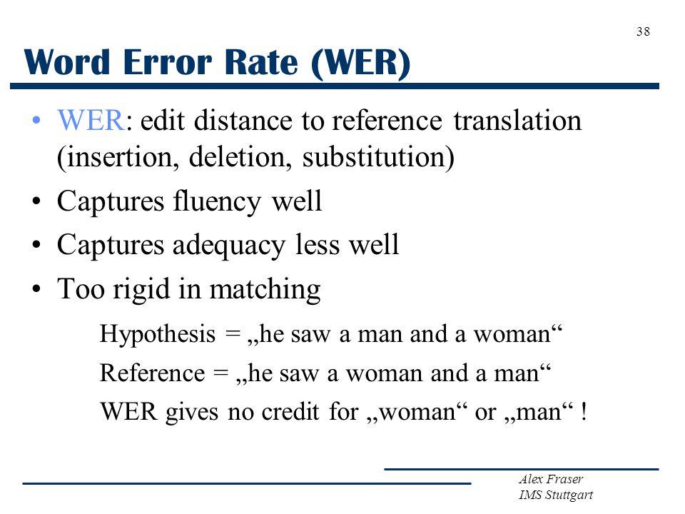 Alex Fraser IMS Stuttgart Word Error Rate (WER) WER: edit distance to reference translation (insertion, deletion, substitution) Captures fluency well