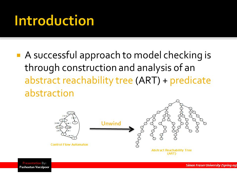  A successful approach to model checking is through construction and analysis of an abstract reachability tree (ART) + predicate abstraction Simon Fraser University (Spring 09) Presentation By: Pashootan Vaezipoor Unwind