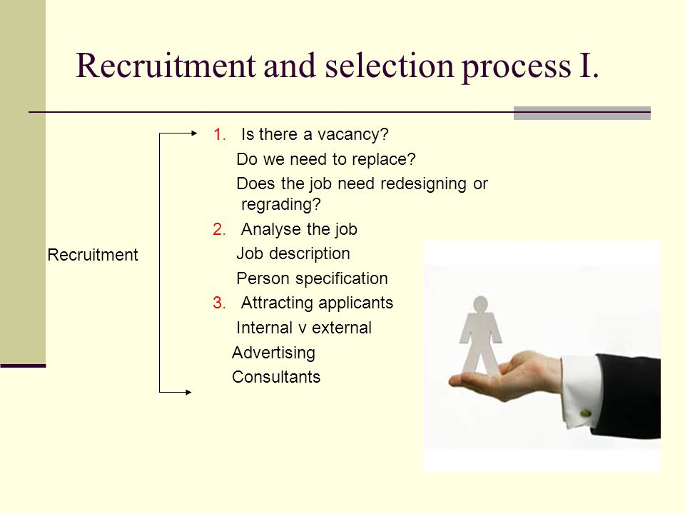Recruitment and selection process I. 1.Is there a vacancy.