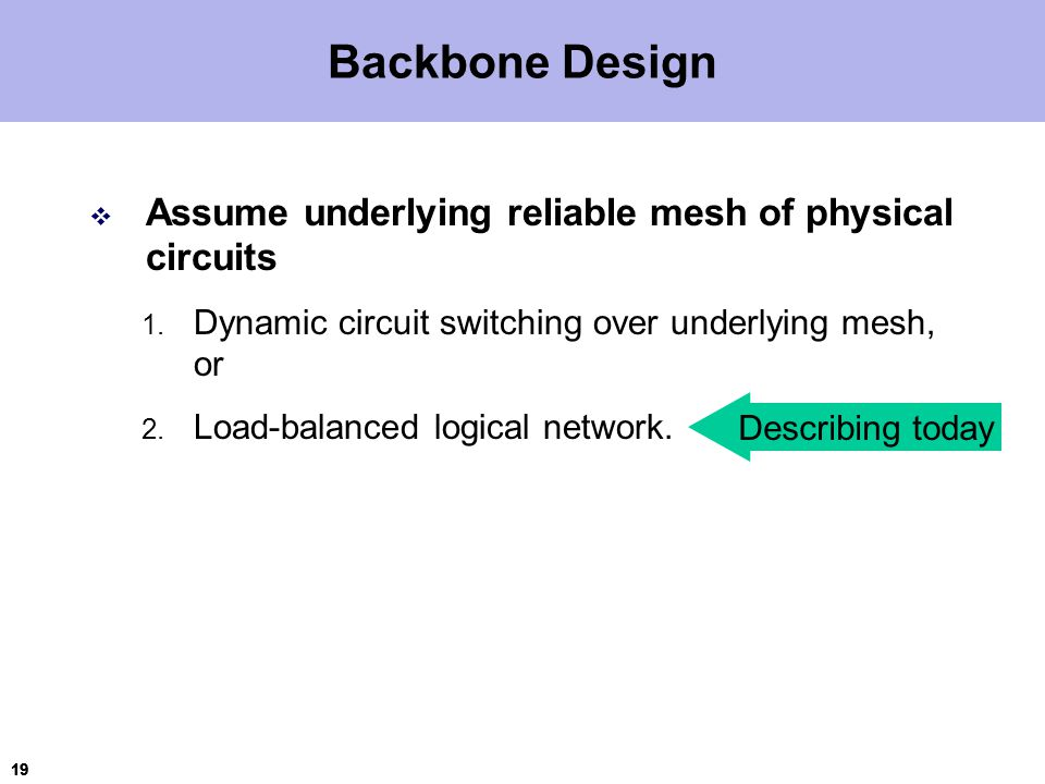 19 Backbone Design  Assume underlying reliable mesh of physical circuits 1.