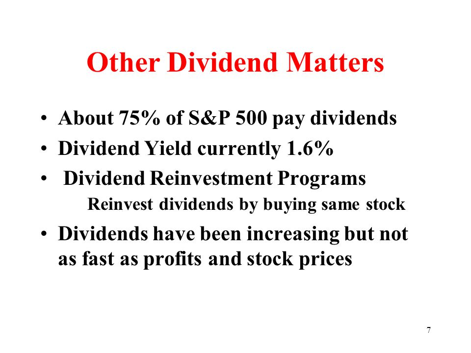 8 Alternative Policies Constant payout ratio Small regular plus year-end extra Stable amount per share – most common –Usually profits grow faster than dividends – Wait until we're certain attitude Yearly dividends since 1885 – Eli Lily –GE (1894), PPG (1899), Pfizer (1901)
