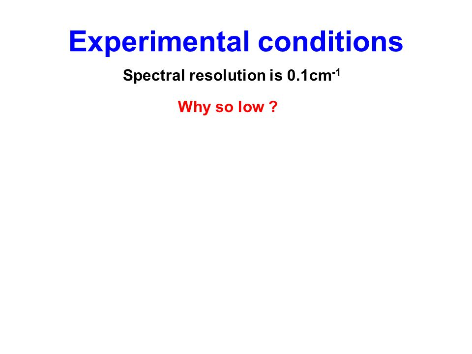 Experimental conditions Spectral resolution is 0.1cm -1 Why so low