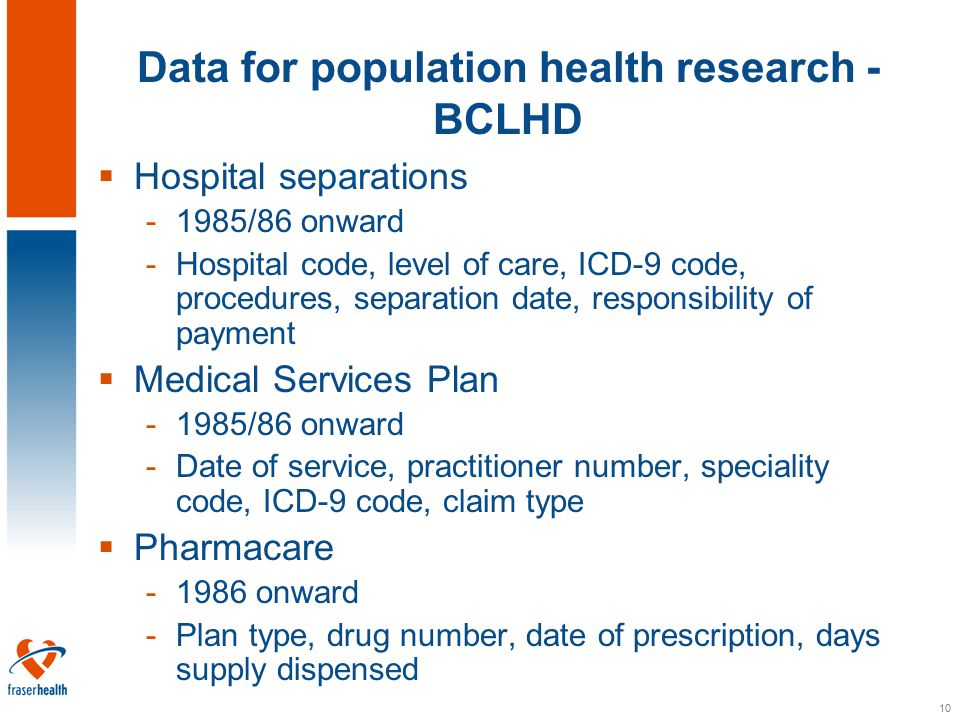 10 Data for population health research - BCLHD  Hospital separations -1985/86 onward -Hospital code, level of care, ICD-9 code, procedures, separation date, responsibility of payment  Medical Services Plan -1985/86 onward -Date of service, practitioner number, speciality code, ICD-9 code, claim type  Pharmacare -1986 onward -Plan type, drug number, date of prescription, days supply dispensed