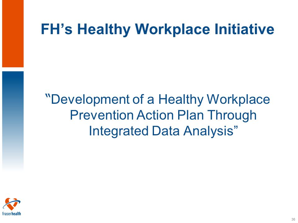 36 FH's Healthy Workplace Initiative Development of a Healthy Workplace Prevention Action Plan Through Integrated Data Analysis