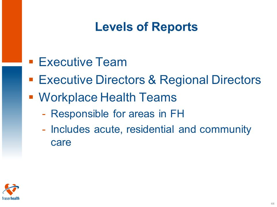 44 Levels of Reports  Executive Team  Executive Directors & Regional Directors  Workplace Health Teams -Responsible for areas in FH -Includes acute, residential and community care