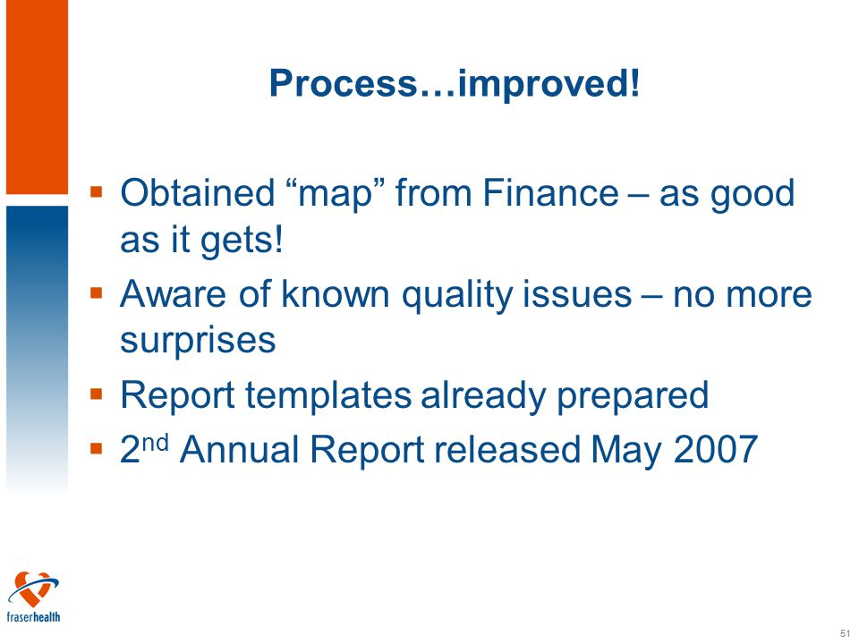 51 Process…improved.  Obtained map from Finance – as good as it gets.