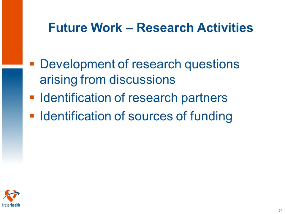 54 Future Work – Research Activities  Development of research questions arising from discussions  Identification of research partners  Identification of sources of funding
