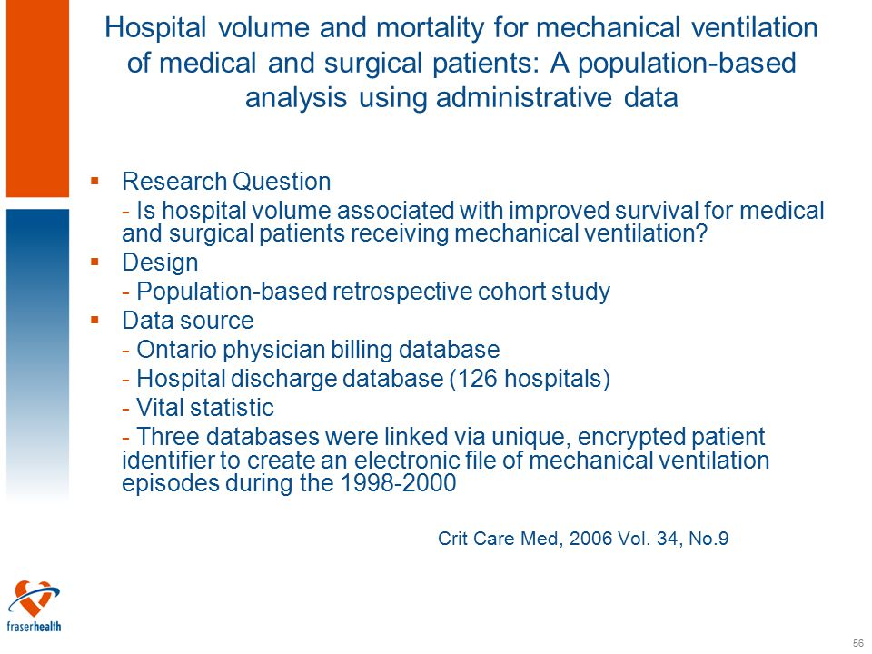56 Hospital volume and mortality for mechanical ventilation of medical and surgical patients: A population-based analysis using administrative data  Research Question - Is hospital volume associated with improved survival for medical and surgical patients receiving mechanical ventilation.
